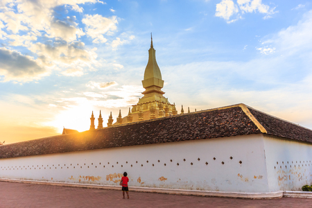laotian: Pha That Luang temple in Vientiane, Laos, Lao P.D.R. Stock Photo