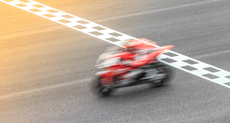 Superbike Motorcycle crossing the finish line Archivio Fotografico