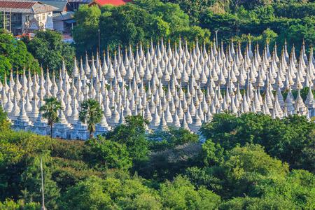 Top view Sandamuni Paya Pagoda Large stupa forest, Mandalay, Myanmar