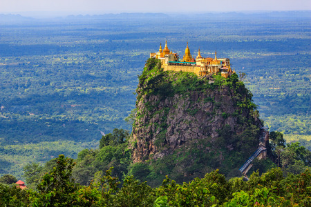 Mount Popa home of Nat the Burmese mythology ghost this place is the old volcano in Bagan, Mt. Popa, Bagan, Myanmar Stock Photo