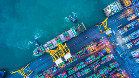 Aerial view of container cargo ship