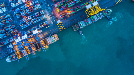 Aerial view of container cargo ship, Container Cargo ship in import export logistic, Logistics and transportation of International Container Cargo ship. Stock Photo