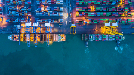 Aerial view of container cargo ships