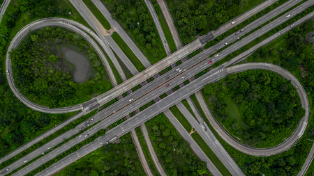 Aerial view highway junction, cross roads, interchange and expressway is an important infrastructure in Thailand. Imagens - 95193446