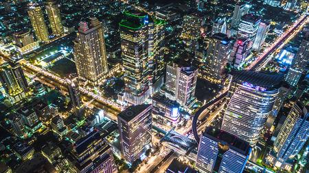 Aerial view of Bangkok City modern office buildings, condominium, hotel in Bangkok city downtown business and finance. 写真素材