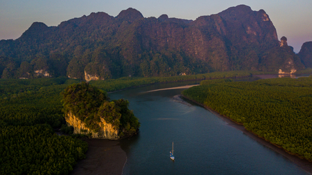 Aerial view of Ao Thalane near Krabi, Ao Tha Lane famous place for kayak on the river with mountain and mangrove forest, Krabi, Thailand.