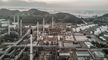 Aerial top view Petrochemical plant, Aerial view Oil refinery plant. Stock Photo