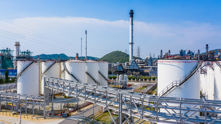 Aerial view storage tank and tanker truck in industrial plant, Chemical Industry. Stock Photo