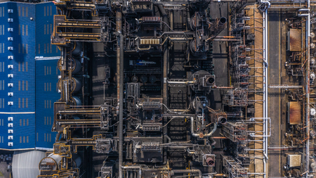 Aerial view petrochemical plant, oil refinery factory.