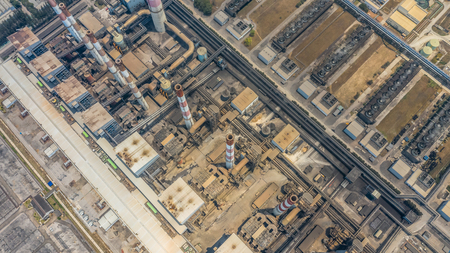 Aerial view power plant station, Industrial power plant.