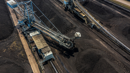 Aerial view large bucket wheel excavators in a lignite mine.