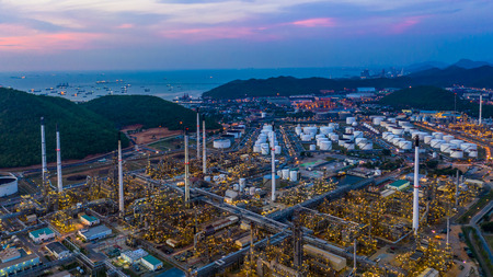 Aerial view refinery plant facory at twilight. Stock Photo