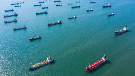 Aerial view oil and gas chemical tanker in open sea, Refinery Industry cargo ship.