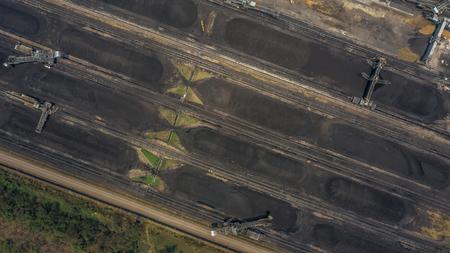 Aerial view large bucket wheel excavators in a lignite mine.