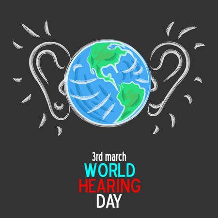 3 march world hearing day illustration Illustration