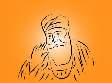 Guru Nanak Dev ji illustration vector image Illustration