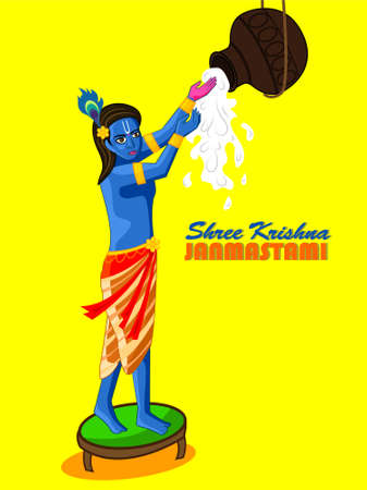 Shri Krishna Janmasthami illustration in vector file