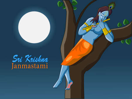 Sri Krishna Janmastami illustration in vector file