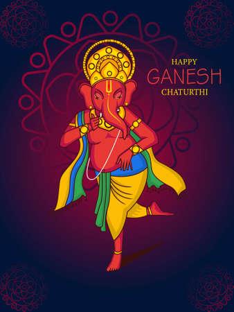 Happy Ganesh Chaturthi illustration.Dancing lord Ganesha vector. Banco de Imagens - 153727837