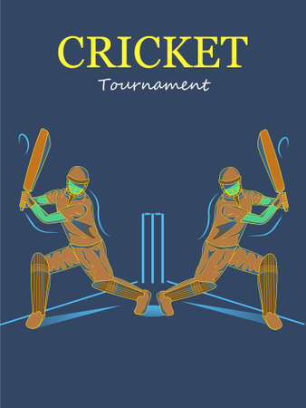 cricket players in the stadium or tournament illustration. Ilustração