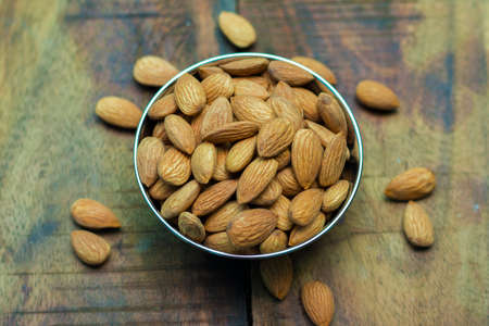 selective focus of Almond nuts.