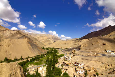 lamayuru village in ladakh near leh town, a small village in the hills photo