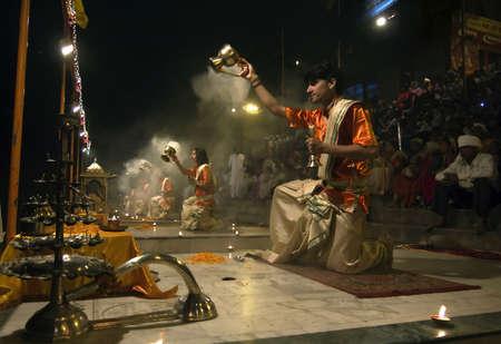 diyas: Varanasi, Uttarpradesh, India, April 1 2011: Evening arati at varasani ghats, a ritual of Hinduism