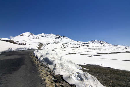 kashmir: Leh Manali Highway though the high mountains and ice, Ladakh, Jammu and Kashmir, India