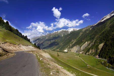 National Highway 1 between Srinagar and Leh going through the mountains with greenery all arround and blue skies photo