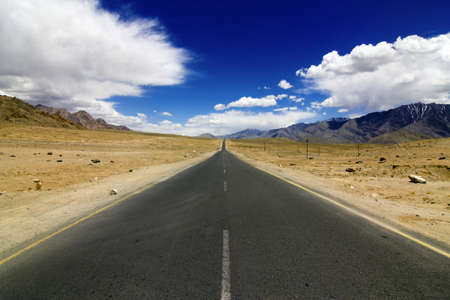 gravel road: A very straight road in Mountains,NH1 from Srinagar to Leh