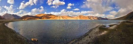 Panoramic view of beautiful pangong lake in Ladakh, Jammu and Kashmir, India photo