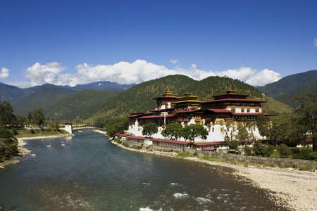 monastery nature: Punakha monastery in Bhutan, one of the biggest monastery in Bhutan