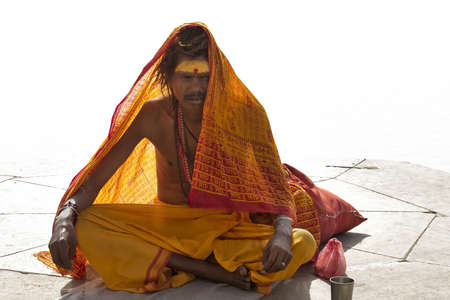Varanasi, Uttarpradesh, India, April 1 2011:Sadhu at the ghats in Varanasi