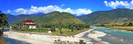 monastery nature: Panoramic view Punakha monastery in Bhutan, one of the biggest monastery in Asia, Bhutan, Asia