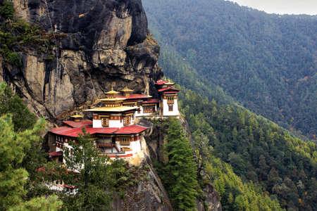 himalaya: Taktshang Goemba Tigers Nest Monastery , Bhutan, in a mountain cliff, Bhutan, Asia
