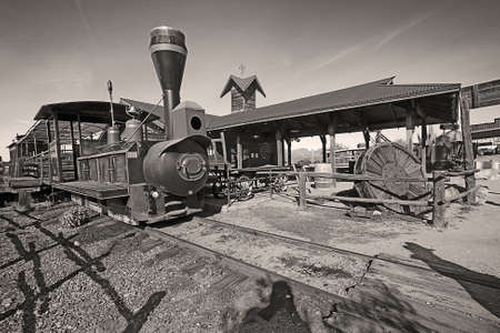 arizona scenery: Old Train in Gold Field Ghost Town Stock Photo