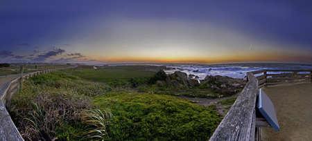 17: Sunset at 17 Miles drive Panoramic View in California