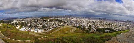 pyramid peak: Panoramic View of SFO City Skyline from Twin Peaks California, USA Stock Photo