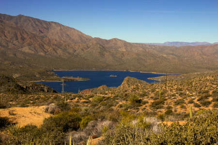 Panoramic view of Apache Lake in Arizona photo