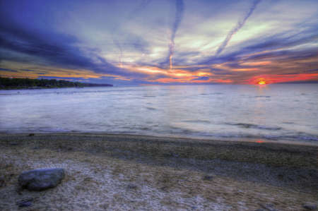 Colorful Sunset at Erie Lake, Michigan, USA photo