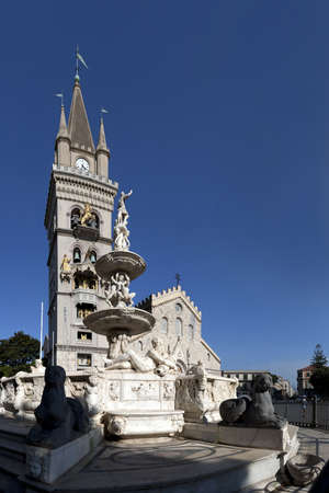Cathedral square of Messina and its monuments Stock Photo