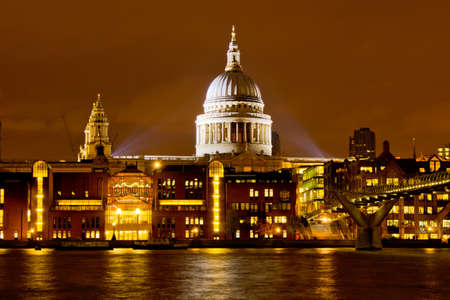 Cathedral of St Paul in London by night
