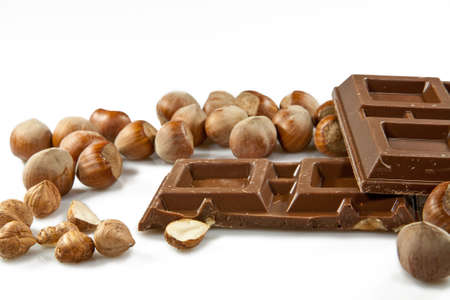 Milk chocolate with hazelnuts Stock Photo - 11829988