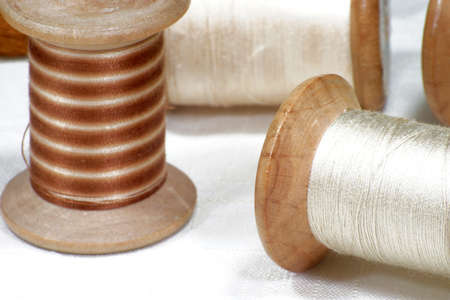 Spools and cotton threads for embroidery Stockfoto