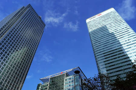 Skyscrapers and buildings of Canary Wharf in London