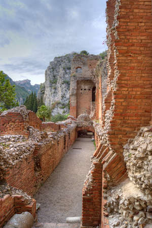 restauration: Greek theatre of Taormina  detail Stock Photo