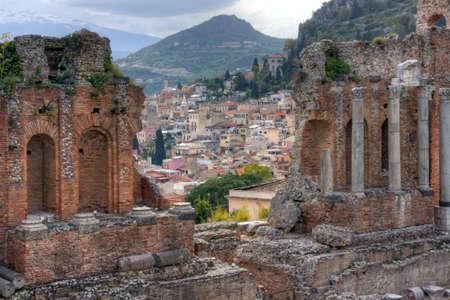 taormina: Greek theatre of Taormina  detail Stock Photo