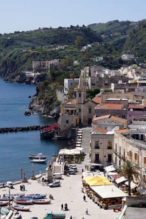 alicudi: View of the harbour of Lipari from the fortification