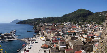 filicudi: View of the harbour of Lipari from the fortification