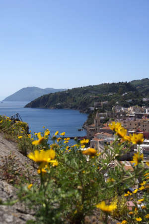 alicudi: View of of Lipari from the fortification Stock Photo
